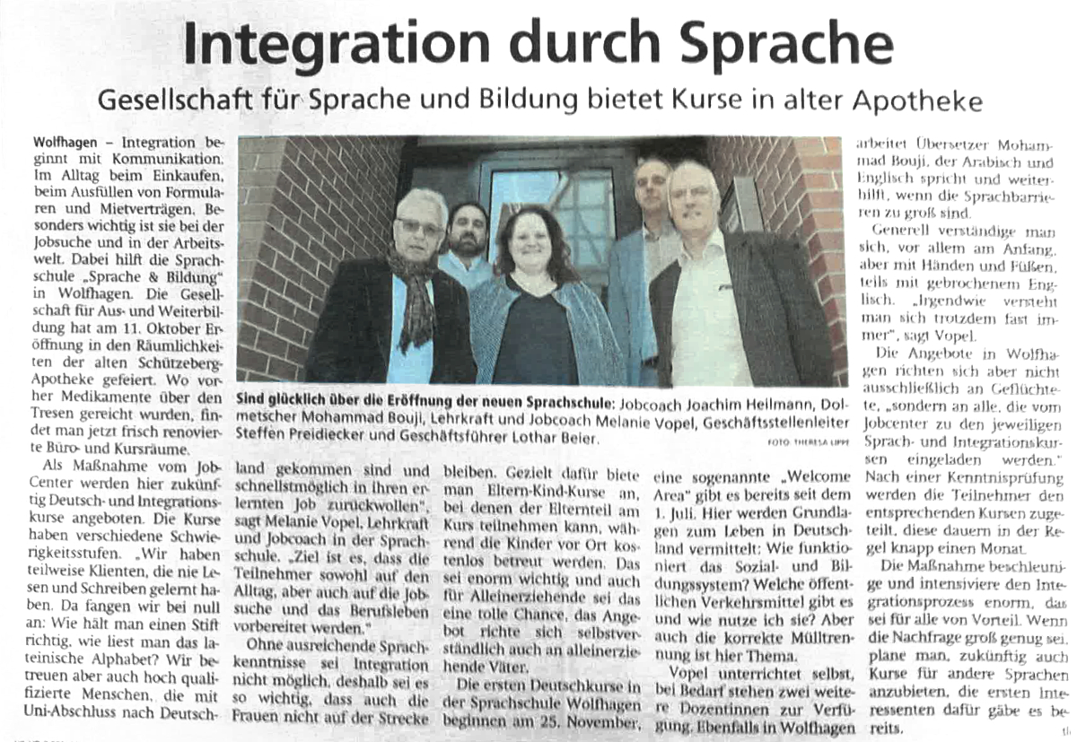 Sprache & Bildung Wolfhagen Integration durch Sprache Artikel